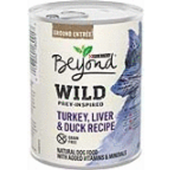Feed your dog a meal that's like what he would seek out in the wild with Purina Beyond WILD Prey-Inspired Turkey, Liver & Duck Recipe wet dog food. This healthy dog food features real turkey as the #1 ingredient, along with other high-quality ingredients, including nutrient-rich organ meat, you can feel confident serving him every day. This prey-inspired entr'e delivers what dogs seek in the wild, helping to satisfy his cravings while giving him the nourishment he needs to support his overall health and wellness. This Purina Beyond WILD recipe contains no artificial colors, flavors or preservatives, and no poultry by-product meal, giving you a way to feed your dog a tasty entr'e that meets all your ingredient requirements. Serve him this mouthwatering wet dog food at feeding time, and feel good about giving him a natural dog food you can trust.