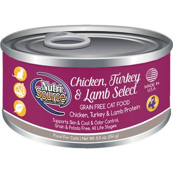 !NUTRISOURCE CAT GRAIN FREE CHICKEN TURKEY & LAMB 5.5OZ