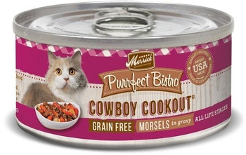 Merrick Purrfect Bistro Cowboy Cookout Grain-free Canned Cat Food Uses The Spirit And Ingredients Of A Classic Texas Barbecue To Create This Delicious Meal Cats Can't Say No To. Merrick Purrfect Bistro Cowboy Cookout Grain-dree Canned Cat Food Starts With