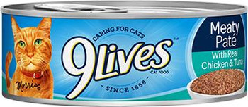 9 Lives Meaty Pate With Chicken And Tuna Dinner Canned Cat Food-5.5-oz, Case Of 24-{L+1}
