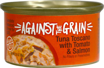 Against The Grain Tuna Toscano With Salmon And Tomato Dinner Canned Cat Food-2.8-oz, Case Of 24-{L+1}