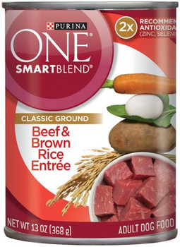 Purina One Canned Dog Beef/Brown Rice 12/13OZ