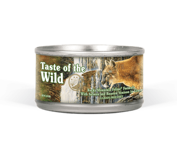 Taste Of The Wild Rocky Mountain Canned Cat Food Provides A Delicious Blend Of Chicken, Trout, And Venison Coupled With Nutritious Grain Free Carbs Like Sweet Potatoes, Peas, Carrots, And Blueberries.  With Chicken As The First Ingredient, This Diet Is De