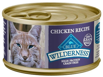 Blue Buffalo Wilderness Chicken Recipe Canned Cat Food Is A Grain-free, Nutrient-rich Wet Food That Will Satisfy Your Cats Wild Side!  Loaded With More Tasty Chicken To Supply The Protein They Craves.  Blue Buffalo Wilderness Chicken Recipe Canned Cat