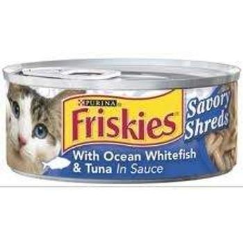 Friskies Savory Shreds With Ocean White Fish And Tuna Canned Cat Food Is A Premium, Canned Cat Food Made With Real Ocean Whitefish & Tuna In Thinly Shredded Pieces In A Thick Sauce. Complete And Balanced Nutrition For Kitten Growth And Adult Cat Maintenan
