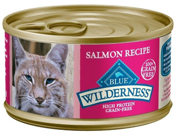 Blue Buffalo Wilderness Salmon Recipe Canned Cat Food Is A Grain-free, Nutrient Rich Wet Food That Will Satisfy Your Cats Wild Side!  Loaded With More Tasty Salmon To Supply The Protein They Crave.  Blue Buffalo Wilderness Salmon Recipe Canned Cat Foo