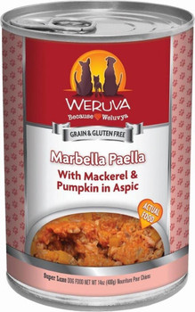 Hola! Spoil Your Dog With Weruva Marbella Paella Canned Dog Food. With One Of The Ocean's Freshest Delights, Mackerel, Your Furry Friend Is Going To Love This Classic Spanish Recipe. This Food Contains Omega-3s For A Healthy Coat, Keeping Your Pup Ready F