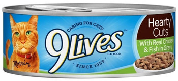 9 Lives Hearty Cuts With Real Chicken And Fish In Gravy Canned Cat Food-5.5-oz, Case Of 24-{L+1}
