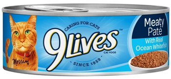 9 Lives Meaty Pate With Ocean Whitefish Dinner Canned Cat Food-5.5-oz, Case Of 24-{L-1}