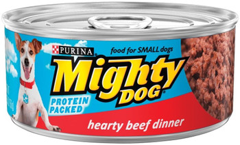 Purina Mighty Dog Hearty Beef Canned Dog Food-5.5-oz, Case Of 24-{L-1}