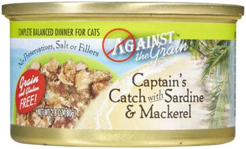 Against The Grain Captain's Catch With Sardine And Mackerel Canned Cat Food-2.8-oz, Case Of 24-{L+1}