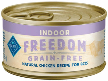 Blue Buffalo Blue Freedom Chicken Canned Cat Food For Indoor Cats Was Made For Kitties Who Thrive On A Grain-free Diet.  This Protein-rich Recipe Uses Real Chicken As The First Ingredient, And Includes Cranberries To Help Keep The Urinary Tract Functionin