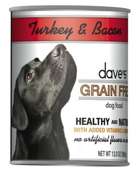 Dave's Grain Free Turkey & Bacon Dinner Is A Premium Grain-free Dog Food.  This Dog Food Has Added Vitamins And Minerals With No Wheat, Gluten, Artificial Flavors Or Colors.
