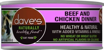 Dave's Naturally Healthy Beef & Chicken  Dinner Is A Premium Grain-free Cat Food.  This Cat Food Has Added Vitamins And Minerals With No Wheat, Gluten, Artificial Flavors Or Colors.