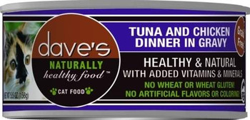 Dave's Naturally Healthy Tuna And Chicken Dinner In Gravy Is A Premium Grain-free Cat Food.  This Cat Food Has Added Vitamins And Minerals With No Wheat, Gluten, Artificial Flavors Or Colors.