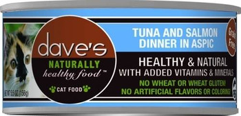 Dave's Naturally Healthy Tuna And Salmon  Dinner In Aspic Is A Premium Grain-free Cat Food.  This Cat Food Has Added Vitamins And Minerals With No Wheat, Gluten, Artificial Flavors Or Colors.