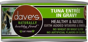 Dave's Naturally Healthy Tuna Entre Dinner In Gravy Is A Premium Grain-free Cat Food.  This Cat Food Has Added Vitamins And Minerals With No Wheat, Gluten, Artificial Flavors Or Colors.
