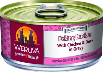 Don't Duck Your Dog's Dinner And Get Them The Weruva Peking Ducken Canned Dog Food. This Food Is Full Of Cage-free Chicken And Duck For A Healthy Doggo. Weruva Peking Ducken Canned Dog Food Also Contains Pumpkin, Which Is A Perfect Proven Solution For Any
