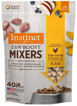 Giving Your Cat An Extra Boost Of Nutrition And Taste Just Got Easier With Instinct Raw Boost Mixers Grain-free Chicken Formula Dried Cat Food Topper. Real Chicken, Turkey, And Liver In A Small, Easy To Serve Pouch Can Be Poured Right Over Your Cat's Kibb