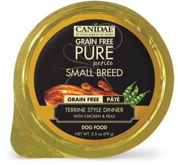 The Perfect Meal For Your Tiny Friend, Canidae Grain Free Pure Petite Small Breed Terrine Style Dinner Pate With Chicken And Peas Wet Dog Food Is The Perfect Portion With Perfect Nutrition For Smaller Pups! This Grain Free, Limited Ingredient Pate Is Made
