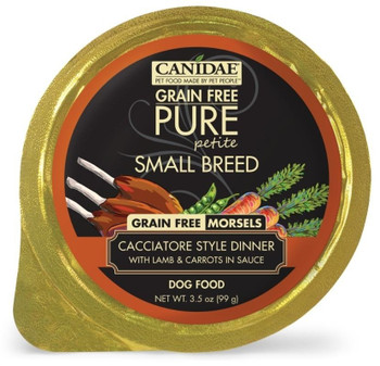 The Perfect Meal For Your Tiny Friend, Canidae Grain Free Pure Petite Small Breed Cacciatore Style Dinner Morsels With Lamb And Carrots In Sauce Wet Dog Food Is The Perfect Portion With Perfect Nutrition For Smaller Pups! This Grain Free, Limited Ingredie