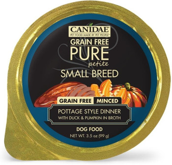 The Perfect Meal For Your Tiny Friend, Canidae Grain Free Pure Petite Small Breed Pottage Style Dinner Minced With Duck And Pumpkin In Broth Wet Dog Food Is The Perfect Portion With Perfect Nutrition For Smaller Pups! This Grain Free, Limited Ingredient P