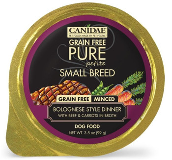 The Perfect Meal For Your Tiny Friend, Canidae Grain Free Pure Petite Small Breed Bolognese Style Dinner Minced With Beef And Carrots In Broth Wet Dog Food Is The Perfect Portion With Perfect Nutrition For Smaller Pups! This Grain Free, Limited Ingredient