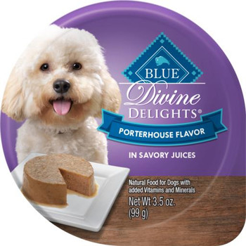 Blue Buffalo Divine Delights Small Breed Porterhouse Pate Dog Food Cup-3.5-oz, Case Of 12-{L+1}