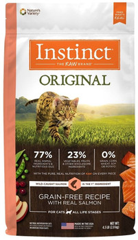 High Animal Protein, Grain-free Recipe Guided By Our Belief In Raw, Instinct Original Grain-free Recipe With Real Salmon Unlocks Your Cats Potential To Thrive. Wild-caught Salmon Is The First Ingredient  Packed With Animal Protein For Strong, Lean