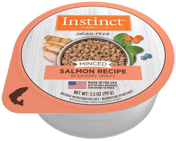Nature's Variety Instinct Adult Grain Free Minced Recipe With Real Salmon Natural Cat Food Cups-3.5-oz, Case Of 12-{L-1}