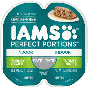 Iams Perfect Portions Grain Free Indoor Adult Cat Food Trays Allow You To Feed Your Cat Wet Food Without The Mess Of Leftovers In Your Refrigerator. Iams Pate Turkey Recipe Is The Hearty Cat Food You And Your Pet Love Because It Provides The Best Of Both
