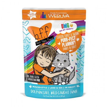 Weruva Bff Oh My Gravy Purr-fect Plannin Grain Free Chicken, Tuna And Salmon In Gravy Wet Cat Food Pouch-2.8-oz, Case Of 12-{L-tx}
