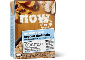 Now Fresh › Grain Free Turkey Stew With Bone Broth Is Made With 100% Fresh Turkey And Salmon And 100% Fresh Omega 3 & 6 Oils From Coconuts And Canola. Now Fresh › Also Features Zero Grains, Gluten, Wheat, Beef, Corn Or Soy. Zero Rendered Meats, By-product