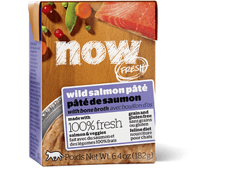 Now Fresh Grain Free Wild Salmon P-›t With Bone Broth Is Made With 100% Fresh Salmon And 100% Fresh Omega 3 & 6 Oils From Coconuts And Canola. Now Fresh › Also Features Zero Grains, Gluten, Wheat, Beef, Corn Or Soy. Zero Rendered Meats, By-products Or