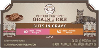 Nutro Perfect Portions Grain Free Chicken And Turkey Cuts In Gravy Wet Cat Food Tray Variety Pack-2.65-oz, 12-pack-{L+1}d