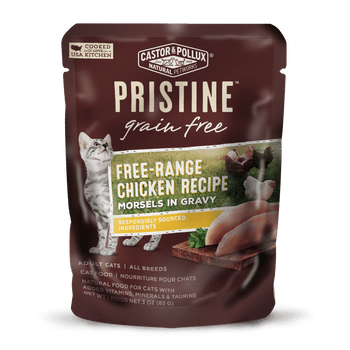 Castor And Pollux Pristine Grain-free Free-range Chicken Morsels In Gravy Wet Cat Food Pouches-3-oz, Case Of 24-{L-1}
