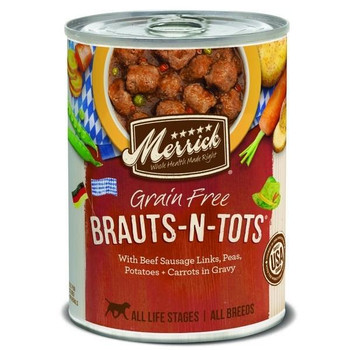 Merrick Grain-free Brauts N Tots Canned Dog Food Takes A Traditional German Favorite And Brings Them Right To Your Furry Friends Bowl! With Real Deboned Beef And Fresh Produce Like Sweet Potatoes And Green Beans, The Only Things Missing From Merrick G