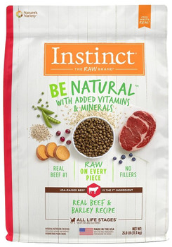Natural Nutrition Begins Here. Instinct Be Natural Real Beef & Barley Recipe Starts With Usa-raised Beef And Never Contains Filler, Corn, Wheat, Soy Or By-product Meals Or Artificial Preservatives And Colors. Guided By Our Belief In The Power Of Raw, Each