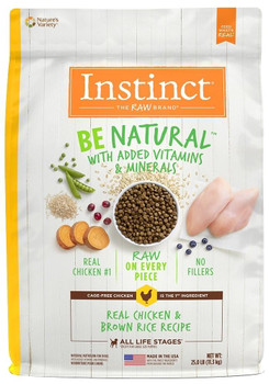 Natural Nutrition Begins Here. Instinct Be Natural Real Chicken & Brown Rice Recipe Starts With Cage-free Chicken And Never Contains Filler, Corn, Wheat, Soy Or By-product Meals Or Artificial Preservatives And Colors. Guided By Our Belief In The Power Of