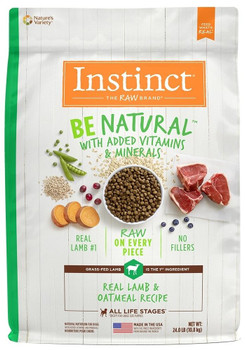 Natural Nutrition Begins Here. Instinct Be Natural Real Lamb & Oatmeal Recipe Starts With Grass-fed Lamb And Never Contains Filler, Corn, Wheat, Soy Or By-product Meals Or Artificial Preservatives And Colors. Guided By Our Belief In The Power Of Raw, Each