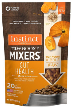 Top Your Dog's Kibble With Raw. Instinct Raw Boost Mixers Gut Health Provides Fiber And Live, Natural Probiotics To Help Maintain Digestive Health. Our Recipes Combine Cage-free Chicken Plus Vibrant, Functional, Whole-food Ingredients - 100% Freeze-dried