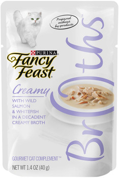 Fancy Feast Broths With Wild Salmon & Whitefish In A Decadent Creamy Broth Simplicity At Its Finest, This Delicious, Creamy Broth Is Carefully Crafted With Tender Pieces Of Wild Salmon And Whitefish To Delight Your Cat. Lickable, Lappable Fancy Feast Brot