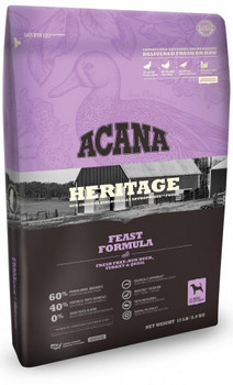 """acana's Heritage Feast Recipe Is A Grain-free, Protein-packed Recipe Loaded With Over 60% Premium Animal Ingredients Including Fresh Free Run Duck, Turkey And Quail, And Features An Unmatched Variety Of Local Ingredients That Are Raised By People They Kn"