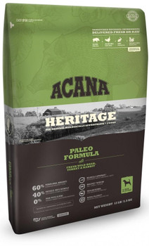 Acana's Heritage Paleo Formula Is A Grain-free, Protein-packed Recipe Loaded With Over 60% Of Premium Animal Ingredients!  This Biologically Appropriate Mix Includes An Unmatched Variety Of Regional Meats Ingredients Including Wild Boar, Free-run Turkey A