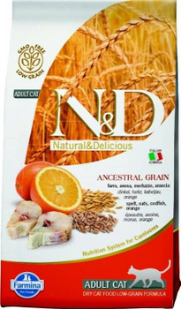 your Cat Deserves The Best Scientifically Proven Food To Maintain A Healthy Weight. Farmina N&d Natural And Delicious Cod Fish & Orange Ancestral Low Grain Formula Dry Cat Food Does Not Contain Any Gmos Or Glutens Of Any Kind And Only Contain N