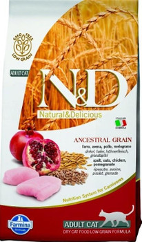 Farmina N&d Natural And Delicious Low Grain Adult Chicken & Pomegranate Dry Cat Food-3.3-lb-{L-x}