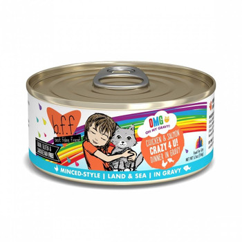 B.f.f. Oh My Gravy! - Omg!, From Best Feline Friends, Is Packed With Hydration Thanks To Our Unique Recipes Featuring An Irresistible Gravy Base Made From Chicken Broth.-crazy 4 U! - 24 Pack Of 2.8oz Cans With Easy Open Lid Featuri