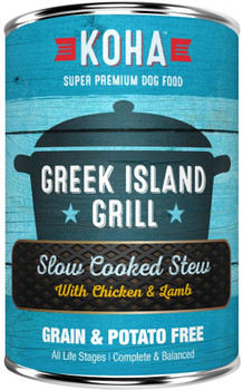 Koha Greek Island Grill Slow Cooked Stew Provides A Nutritious High-quality Protein Combination That Is Grain, Potato, And Carrageenan Free. Dogs Love The Delicious Taste Of Chicken And Lamb. No Pita Required. Feed As A Complete And Balanced Meal Or As A