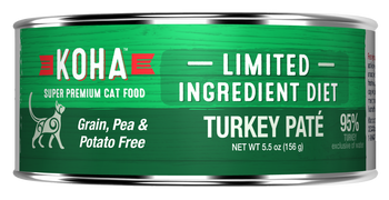 Koha Limited Ingredient Pates Are Ideal For Elimination Diets And Rotational Feeding. Our Turkey P-›t Cat Food Contains Premium Usa Turkey Meat. All Limited Ingredient Diets Include New Zealand Green Mussel To Support Joint Health, Pumpkin For Healthy