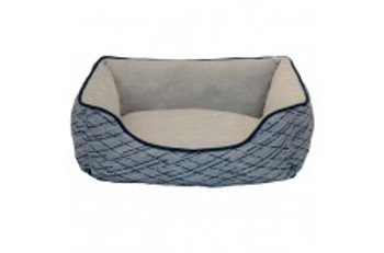 Keep your pet happy and comfortable with this Oval Cuddler Pet Bed.  Textured faux linen exterior with accent piping.    Your pet will love laying on the soft plush sleep area while cuddling up next to the bolstered walls.  Machine washable for easy care.